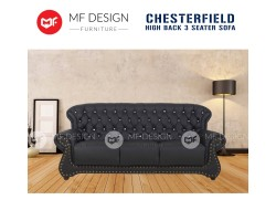 MF DESIGN CHESTERFIELD HIGH BACK 3 SEATER SOFA (CASA LEATHER WITH DIAMOND)