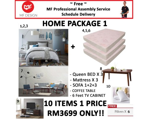 MF DESIGN ASSEMBLY - HOME PACKAGE 1 ( Queen Bed Frame X 3 , 8 Inch Foam Mattress X 3 , Scandinavian Sofa 1+2+3, Coffee Table , 6 Feet Tv Cabinet, Pillow X 6 )