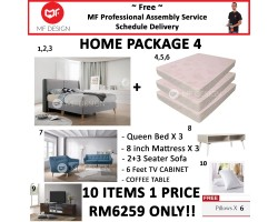 MF DESIGN ASSEMBLY - HOME PACKAGE 4 ( Queen Bed Frame X 3 , 8 Inch Foam Mattress X 3 , Cronus 2+3 Sofa X 1 , Coffee Table X 1 , 6 Feet Tv Cabinet X 1 , Pillow X 6 )
