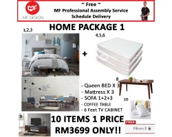 MF DESIGN ASSEMBLY - Spring Mattress HOME PACKAGE 1 ( Queen Bed Frame X 3 , 8 Inch Spring Mattress X 3 , Scandinavian Sofa 1+2+3, Coffee Table , 6 Feet Tv Cabinet, Pillow X 6 )