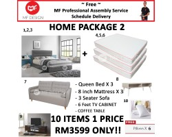 MF DESIGN ASSEMBLY - Spring Mattress HOME PACKAGE 2 ( Queen Bed Frame X 3 , 8 Inch Spring  Mattress X 3 , Scandinavian 3 Seater Sofa X 1 , Coffee Table X 1 , 6 Feet Tv Cabinet X 1 , Pillow X 6 )