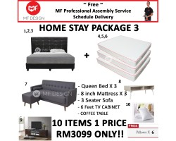 MF DESIGN ASSEMBLY - Spring Mattress HOME PACKAGE 3 ( Queen Bed Frame X 3 , 8 Inch Spring Mattress X 3 , Scandinavian 3 Seater Sofa X 1 , Coffee Table X 1 , 6 Feet Tv Cabinet X 1 , Pillow X 6 )
