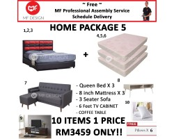 MF DESIGN ASSEMBLY - Spring Mattress HOME PACKAGE 5 ( Queen Bed Frame X 3 , 8 Inch Spring Mattress X 3 , Baldur 3 Seater Sofa X 1 , Coffee Table X 1 , 6 Feet Tv Cabinet X 1 , Pillow X 6 )