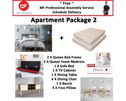 MF DESIGN ASSEMBLY - Apartment Package 2 ( Queen Bed Frame X 2 , 8 Inch Foam Mattress X 2 , Red Dot Sofa Bed X 1 , Tv Cabinet X 1 ,Dining Table X1 , Dining Chair X 4, Bench Chair X 1,Pillow X 4 )