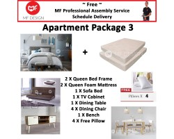 MF DESIGN ASSEMBLY - Apartment Package 3 ( Queen Bed Frame X 2 , 8 Inch Foam Mattress X 2 , Lafio Sofa Bed(Brown) X 1 , Tv Cabinet X 1 ,Dining Table X1 , Dining Chair X 4, Bench Chair X 1, Pillow X 4 )
