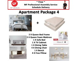 MF DESIGN ASSEMBLY - Apartment Package 4 ( Queen Bed Frame X 2 , 8 Inch Foam Mattress X 2 , Lafio Sofa Bed (Grey) X 1 , Tv Cabinet X 1 , Dining Table X1 , Dining Chair X 4, Bench Chair X 1,Pillow X 4 )