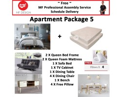 MF DESIGN ASSEMBLY - Apartment Package 5 ( Queen Bed Frame X 2 , 8 Inch Foam Mattress X 2 , New Zealand Sofa Bed (Grey) X 1 , Tv Cabinet X 1 , Dining Table X1 , Dining Chair X 4, Bench Chair X 1,Pillow X 4 )