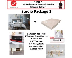 MF DESIGN ASSEMBLY - Studio Package 2 ( Queen Bed Frame X 1 , 8 Inch Foam Mattress X 1 , Red Dot Sofa Bed X 1 , Tv Cabinet X 1 ,Dining Table X 1, Dining Chair X4,  Pillow X 2 )