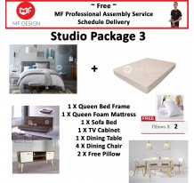 MF DESIGN ASSEMBLY - Studio Package 3 ( Queen Bed Frame X 1 , 8 Inch Foam Mattress X 1 , Lafio Sofa Bed X 1 , Tv Cabinet X 1 ,Dining Table X 1, Dining Chair X4,  Pillow X 2 )