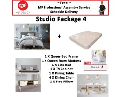 MF DESIGN ASSEMBLY - Studio Package 4 ( Queen Bed Frame X 1 , 8 Inch Foam Mattress X 1 , Lafio Sofa Bed X 1 , Tv Cabinet X 1 ,Dining Table X 1, Dining Chair X4,  Pillow X 2 )