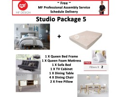 MF DESIGN ASSEMBLY - Studio Package 5 ( Queen Bed Frame X 1 , 8 Inch Foam Mattress X 1 , New Zealand Sofa Bed X 1 , Tv Cabinet X 1 ,Dining Table X 1, Dining Chair X4,  Pillow X 2 )