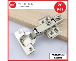 MF DESIGN HARDWARE - 20Pcs Soft Close Full Overlay Kitchen Cabinet Cupboard Hydraulic Door Hinge