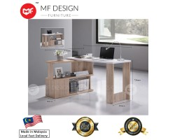 MF DESIGN MAX SPACE - 2in1 STUDY TABLE/ COMPUTER TABLE WITH ADJUSTABLE BOOK SHELF (2018) (Natural Oak)