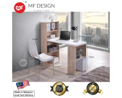 MF DESIGN JERRY 2 in 1 L-SHAPE STUDY TABLE WITH BOOK SHELF (Natural Oak) (2018)