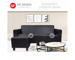 (12.12) PROMOSI PRICE)MF DESIGN SCARLETT L-SHAPE 3 SEATER SOFA(BLACK)