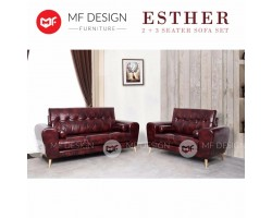 ESTHER 2+3 SEATER SOFA SET (Antique) (Wooden Leg) (Red) (Brown) ( EPE Cotton)