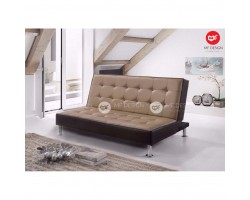 (12.12 PROMOSI PRICE)MF DESIGN GOLDA PVC LEATHER UPHOLDSTERYSOFA BED 3 SEATER SOFA(BROWN)