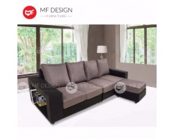 MF DESIGN Alicia L Shape Fabric Sofa Set with Storage (8 feet long)