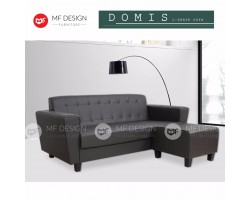 MF DESIGN DOMIS L-SHAPE SOFA (PVC Upholdstery) (Button) (Black) (With Stool)