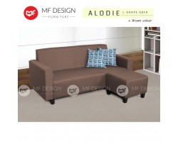 MF DESIGN ALODIE Fabric Upholdstery 3 SEATER L SHAPE SOFA WITH STOOL (BROWN)(FREE 2 PILLOW)