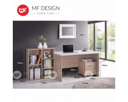 MF DESIGN LAVIONA STUDY TABLE+ BOOKSHELF+ DRAWER / COMPUTER DESK/OFFICE TABLE (Natural Oak) (4 IN 1)