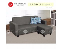 (12.12 PROMOSI PRICE) MF DESIGN ALODIE 3 SEATER Fabric Upholdstery L SHAPE SOFA WITH STOOL (GREY)(FREE 2 PILLOW)