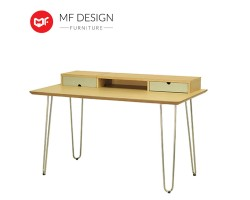 MF DESIGN Ingrid Study Table - Oak, Dust Green