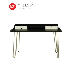 MF DESIGN Ingrid Study Table - Black Ash, White