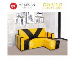 MF Design Dunlo 3 Seater L-Shape PVC Upholdstery Sofa 6 Feet (Black and Yellow)
