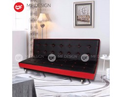 MF DESIGN RED DOT 3 SEATER SOFA BED / SOFA SET (Adjustable) (RED & BLACK) (BUTTON)