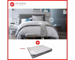 MF DESIGN LOUIS FABRIC QUEEN Divan Bed Frame (GREY) WITH REZTEC LUXES HOT TOPIC 11''Thick QUEEN SIZE MATTRESS