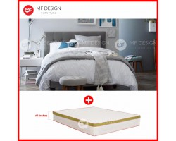 MF DESIGN LOUIS FABRIC QUEEN Divan Bed Frame (GREY) WITH VS SERIES 2 HIGH QUALITY DAMASK 10 INCH SPRING MATTRESS