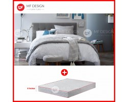 MF DESIGN LOUIS FABRIC QUEEN Divan Bed Frame (GREY) WITH VS SERIES 1 HIGH QUALITY DAMASK 8 INCH QUEEN SIZE SPRING MATTRESS