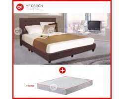 MF DESIGN LOUIS FABRIC QUEEN Divan Bed Frame (COCOA) WITH VS SERIES 1 HIGH QUALITY DAMASK 8 INCH QUEEN SIZE SPRING MATTRESS