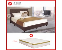 MF DESIGN LOUIS FABRIC QUEEN Divan Bed Frame (COCOA) WITH VS SERIES 2 HIGH QUALITY DAMASK 10 INCH SPRING MATTRESS