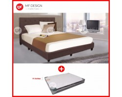 MF DESIGN LOUIS FABRIC QUEEN Divan Bed Frame (COCOA) WITH REZTEC LUXES HOT TOPIC 11''Thick QUEEN SIZE MATTRESS