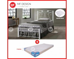 MF DESIGN BELLA SINGLE SIZE METAL BED (WHITE)+CANFOAM THICK 5