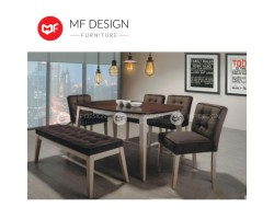 MF DESIGN  Elo Dining Set (1Table + 4 Chair + 1 Bench) (Modern Design) - Best for Condominium [Full Solid Rubber Wood]