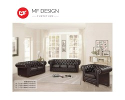 MF DESIGN Chesterfield Leathaire Fabric Sofa Set (1+2+3)