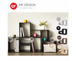 MF DESIGN MAGIC MULTIPURPOSE TV CABINET / BOOK SHELF / COLOUR BOX / RACK/SHELF/LOW CABINET( LIGHT GREY) - 2PCS/CTN