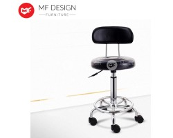 MF DESIGN Relief Hydraulic Well Medical Spa Ergonomic Works Drafting Stool Chair BackvRest with wheels Black