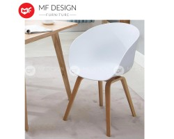MF DESIGN  Designer Eames Arm Rest White Seat with Natural Wood Coated Metal Legs Chair