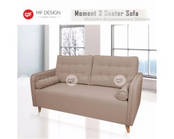 MF DESIGN MOMENT 3 Seater Fabric Upholdstery Sofa (Latte) (Light Brown)