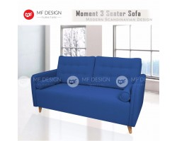 MF DESIGN MOMENT 3 Seater Fabric Upholdstery Scandinavian Sofa (Blue)