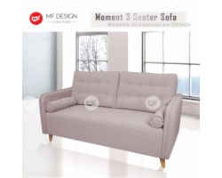 MF DESIGN MOMENT 3 Seater Fabric Upholdstery Scandinavian Sofa (Light Beige)