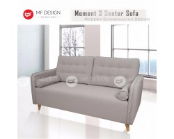 MF DESIGN MOMENT 3 Seater Fabric Upholdstery Scandinavian Sofa (Light Grey)