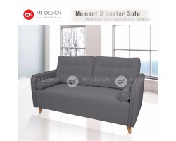 MF DESIGN MOMENT 3 Seater Fabric Upholdstery Sofa (DARK GREY)