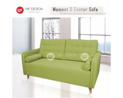 MF DESIGN MOMENT 3 Seater Fabric Upholdstery Sofa (Green)