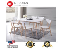 MF DESIGN ESTONIA NATURAL DINING TABLE WITH 6 CUSHION CHAIR DINING CHAIR DINING SET 1+6