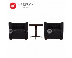 MF DESIGN NEW ZEALAND HOTEL SET 1 SEATER SOFA CHAIR & TABLE (2C+1T) (Black)